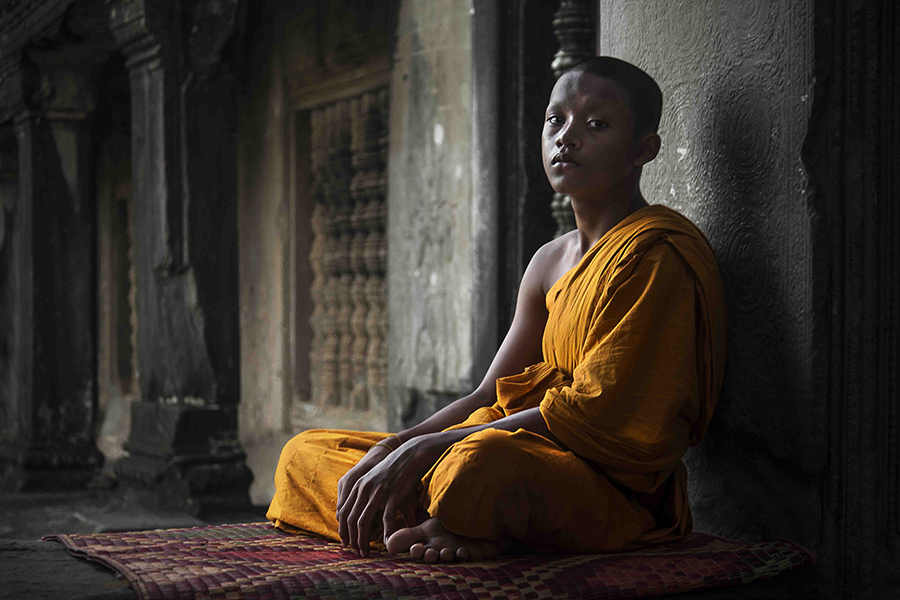 Portrait of a Buddhist monk (Angkor Wat, Cambodia).