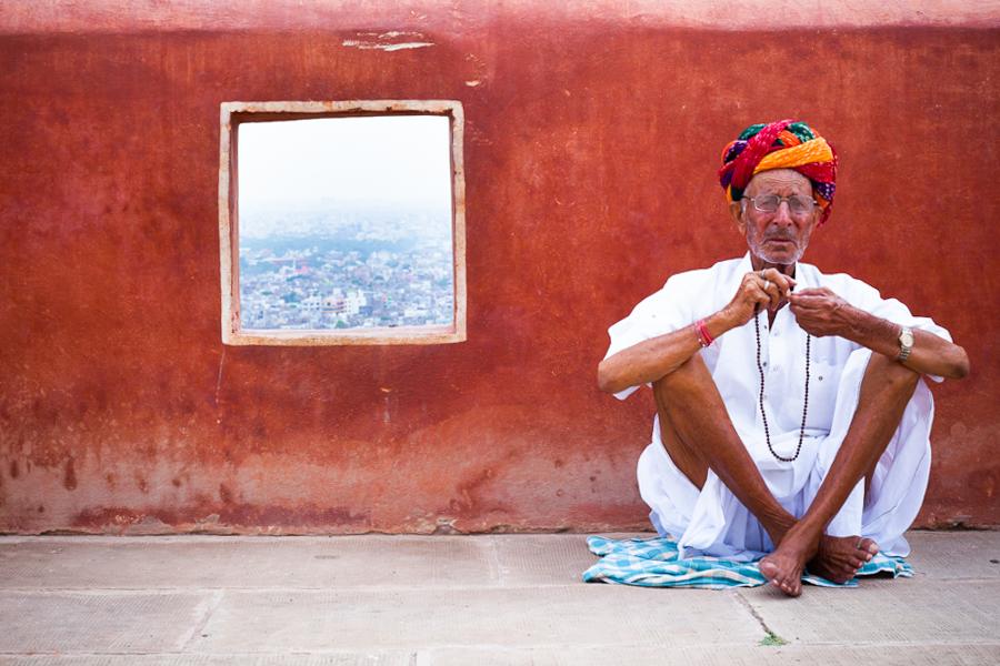 Monkey Temple, Jaipur, India. Monkey Temple-Jaipur  Old man resting during the way to the Monkey Temple (Jaipur, India).